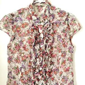 Nanette Lepore 100% Silk Sheer Floral Ruffle Top